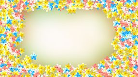 Red, blue and yellow color flower frame blur background royalty free stock images