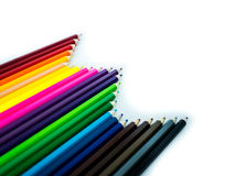 Red, blue, yellow Colorful pencils on white background Stock Image