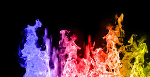 Red, Blue and Yellow flames Royalty Free Stock Images