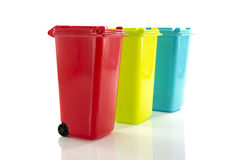 Red blue and yellow green garbage bin Royalty Free Stock Photography