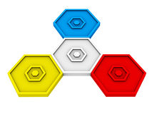 Red, blue and yellow hexagon icon. Isolated on white background Stock Illustration
