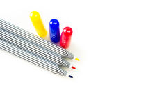 Red, blue, yellow magic pen on white background Royalty Free Stock Images