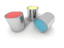 Red, blue and yellow paint boxes Stock Image