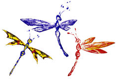 Red blue yellow paint made dragonfly set. Three positions royalty free illustration