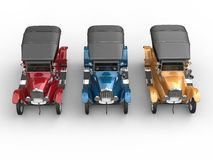 Red, blue and yellow restored vintage cars. Top view Stock Image