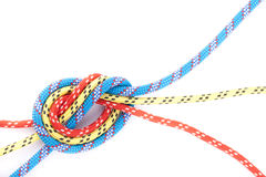 Red blue yellow rope knot Royalty Free Stock Images