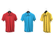 Red, blue and yellow short sleeve shirts Royalty Free Stock Images