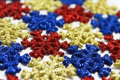 Red&Blue&Yellow Snowflakes Royalty Free Stock Image