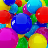 Red blue yellow spheres Stock Images