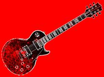 Red Blues Guitar Grunge. A definitive rock and roll guitar in black on a grunge background Royalty Free Stock Photo