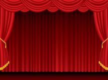 Red blur curtain. Empty red stage with curtain Stock Image