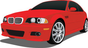 Red BMW M3. A Vector .eps illustration of a BMW sports car. Saved in layers for easy editing. See my portfolio for more automotive illustrations royalty free illustration