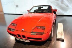 Red BMW Z1 cabriolet on display in BMW Museum Stock Photography
