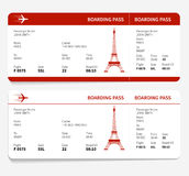 Red boarding pass. With Eiffel tower. Vector illustration stock illustration
