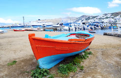 Red Boat. A red boat on the beach of mykonos royalty free stock image