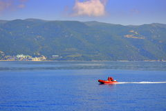 Red boat Athos Mount Royalty Free Stock Photography