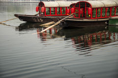 The red boat. Beijing Shichahai China red boat Royalty Free Stock Images