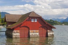 Red boat house Stock Image