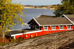 Red boat house near fjord Kragero, Portor, Norway Royalty Free Stock Photo