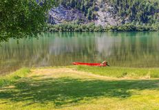 Boat on lake Mjosa in Norway. Red boat on lake Mjosa in Norway Royalty Free Stock Photo