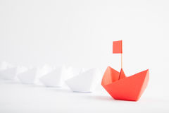 Red Boat Leadership Concept on White Background Stock Image