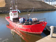 Red boat, Lithuania Royalty Free Stock Image