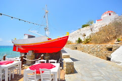 Red boat at Mykonos, Greece Royalty Free Stock Photography