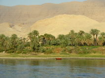 Red boat on the Nile Royalty Free Stock Images