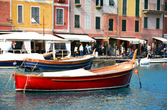 Red boat in the port of Portofino Stock Photo