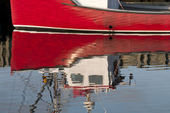 Red Boat Reflection Stock Photos