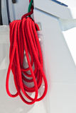 Red boat ropes on white background Royalty Free Stock Images