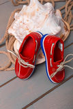 Red boat shoes Royalty Free Stock Images