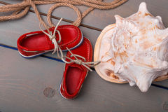 Red boat shoes Royalty Free Stock Photography
