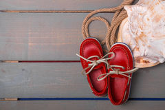 Red boat shoes Stock Image