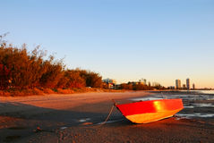 Red Boat At Sunrise Royalty Free Stock Images