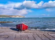 The Red Boat on the Swanage Slipway Royalty Free Stock Photography
