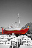Red boat and terrace Stock Photos
