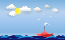 Red boat with white flag on ocean and sea on daylight.  Royalty Free Stock Photos