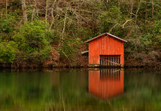 Red Boathouse above Desoto Falls royalty free stock photos