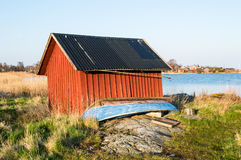Red boathouse Royalty Free Stock Photos