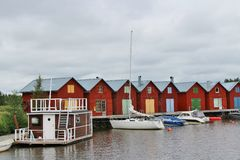 Red boathouses Stock Photo
