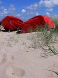 Red Boats on Beach #2. Two red rowboats on the beach in Tidsvideleje Denmark Royalty Free Stock Photography