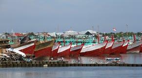 Red boats Pukit peninsula, Bali Royalty Free Stock Photos