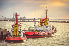Red Boats in Sea Port transport Stock Photography