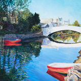 Red Boats. Two row boats are tied up at the sides of a canal in Venice, CA, in an acrylic painting Stock Photography