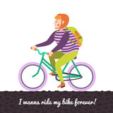 Red bob hair girl on the green bike. Stock Image