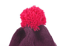 Red Bobble hat isolated on white Royalty Free Stock Image