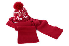 Red bobble hat and scarf Stock Images