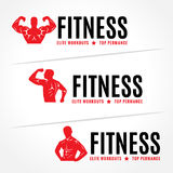 Red Body Men's muscle strength - fitness logo vector design Stock Photography