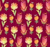 Red boho style floral rustic pattern Stock Images